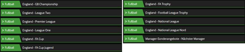 Betway Fussball Wettangebot England