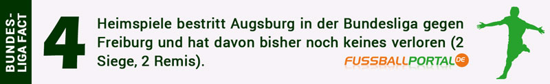 Augsburg hat keines der 4 Heimspiele gegen Freiburg verloren
