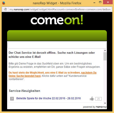 ComeOn Live Chat Hilfefenster