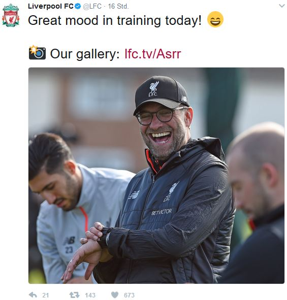 Liverpool Tweet Trainer Klopp