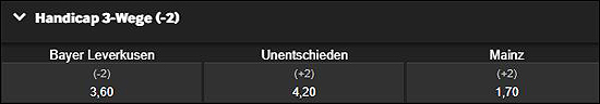 Betway Bundesliga Wetten-Handicap Leverkusen Mainz