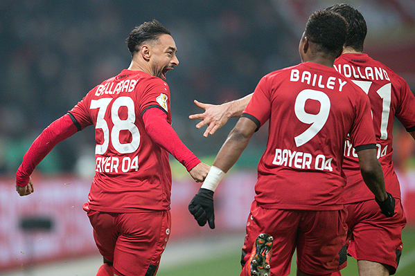 20180207_PD3797 (RM) Bellarabi Jubel Leverkusen © Federico Gambarini / dpa / picturedesk.com