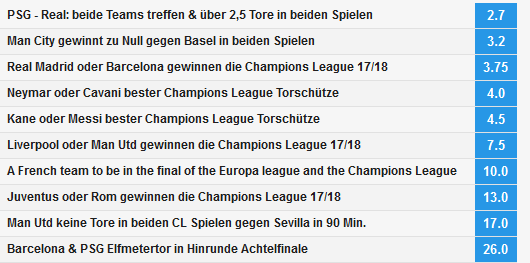 Champions League Spezialwetten