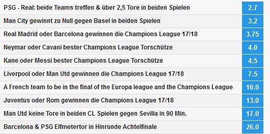 Champions League Spezialwetten