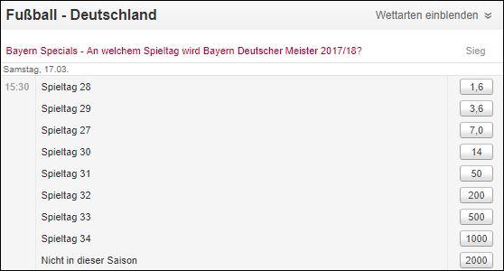 Tipico Bundesliga Wetten Bayern Meister Zeitpunkt