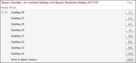 Bayern Special Zeitpunkt Meister - Tipico