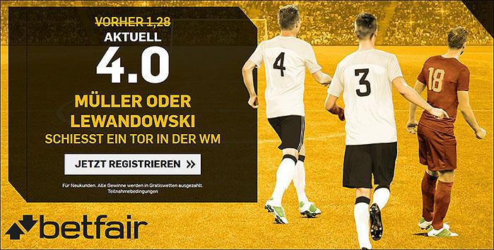 Betfair Quotenboost: Mueller/Lewandowski-WM-Torwette