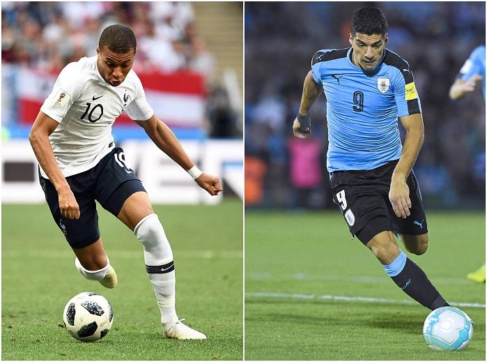 20180702_PD2287 (RM) Suarez Mbappe WM 2018 PABLO PORCIUNCULA, FRANCK FIFE / AFP / picturedesk.com